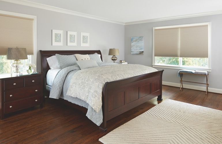 Pull-down shades in a Sacramento bedroom.