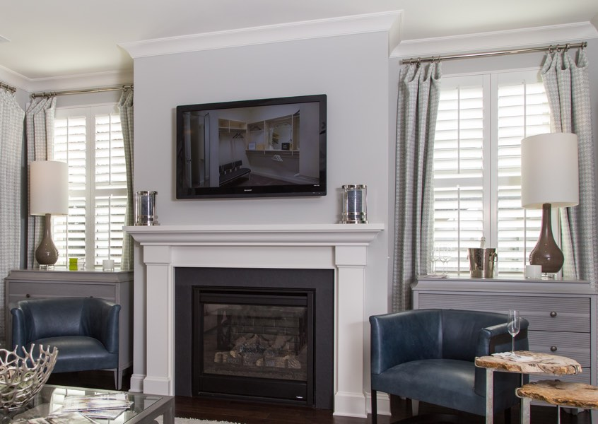 family room Sacramento faux wood shutters