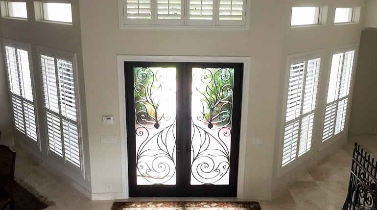 Sacramento Foyer With Glass Doors And Interior Shutters