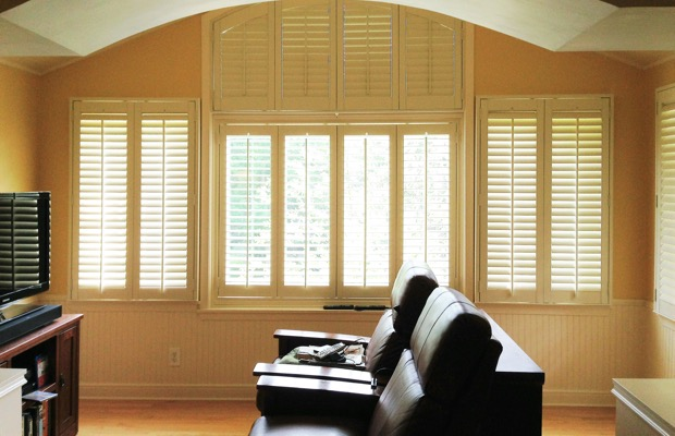 Sacramento plantation shutters in tv room