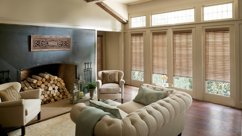 Sacramento fireplace with blinds