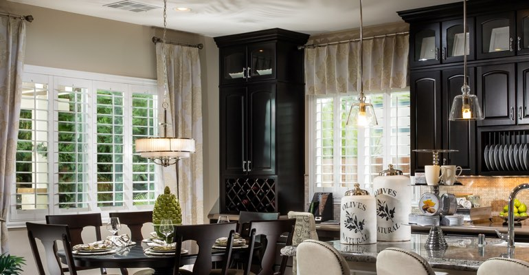 Sacramento kitchen dining room with plantation shutters.
