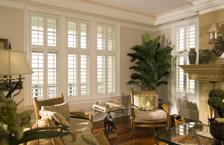 Living Room in Sacramento with polywood plantation shutters.