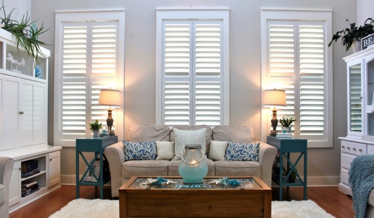 Sacramento designer home with white shutters