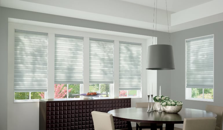 Cellular shades in a Sacramento dining room.