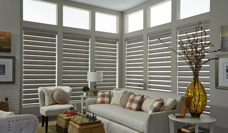Motorized shades in a Sacramento living room.