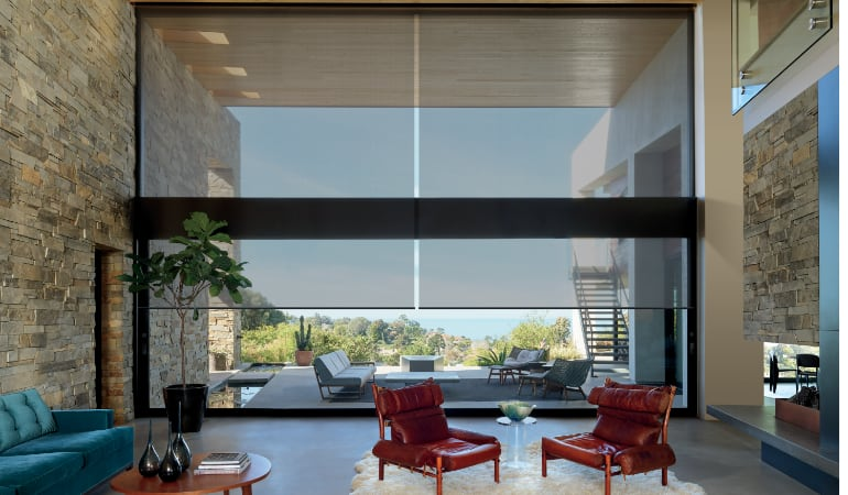 Motorized shades in a Sacramento family room.