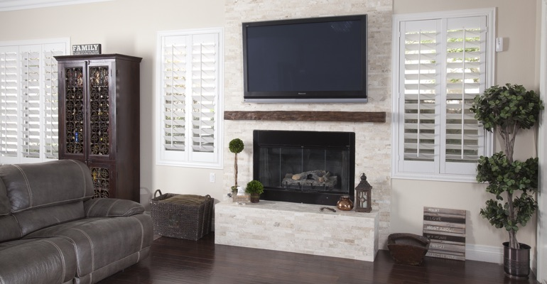 polywood shutters in Sacramento living room
