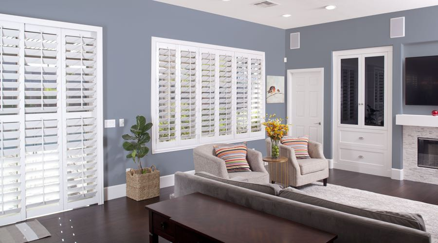 Faux Wood Shutters In modern Sacramento Living Room