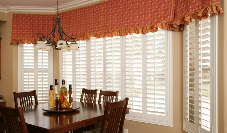 White shutters in Sacramento dining room.