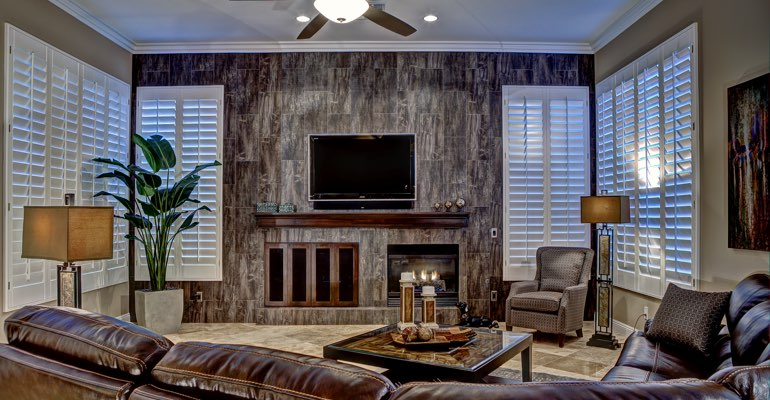 Sacramento living room with shutters