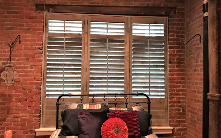 repurposed wood shutters in Sacramento apartment