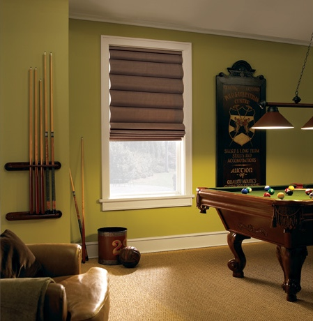 Roman shades in Sacramento game room with green walls.