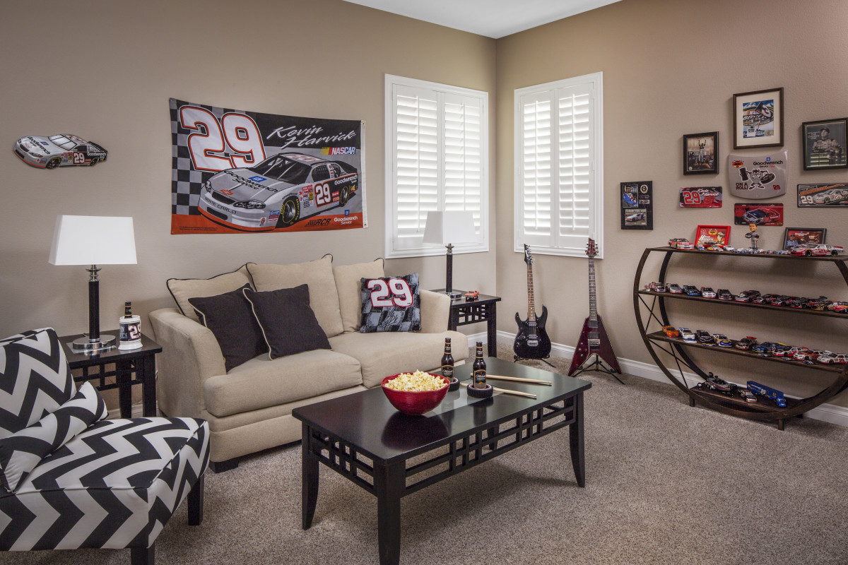 Sacramento man cave with shutters