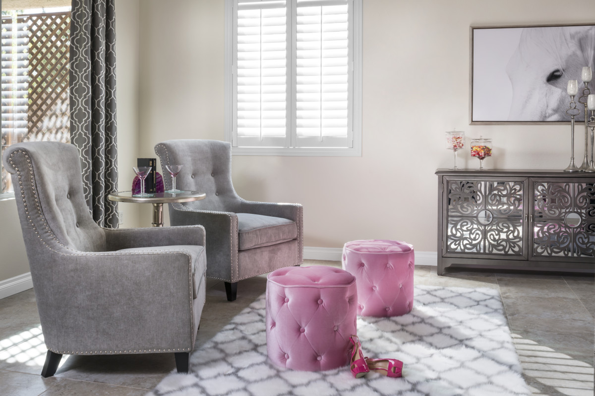 Sacramento pink living room with shutters