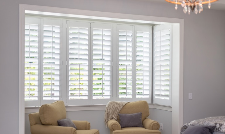 Classic shutters in Sacramento bay window