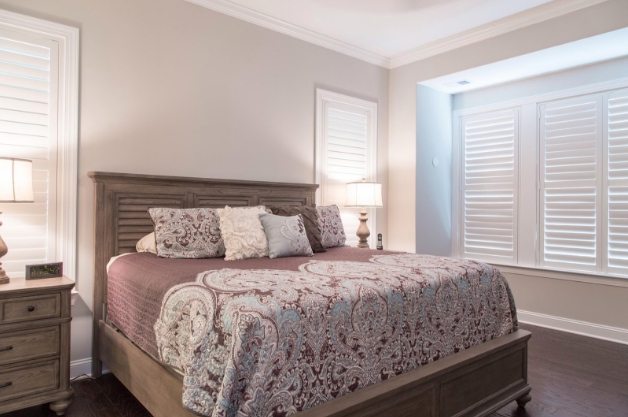 Sacramento bedroom with light block shutters