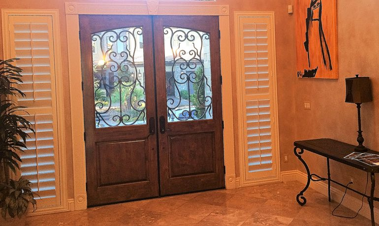 Sacramento foyer door with shutters