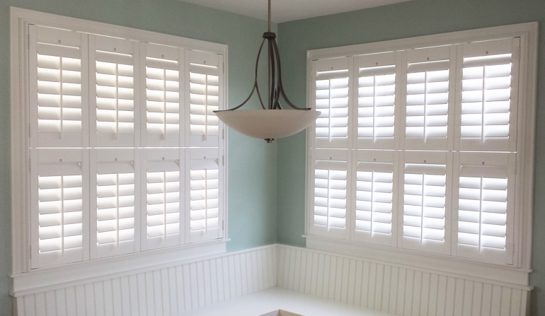 Sacramento white shutters in booth