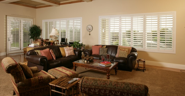 Sacramento family room with polywood shutters.