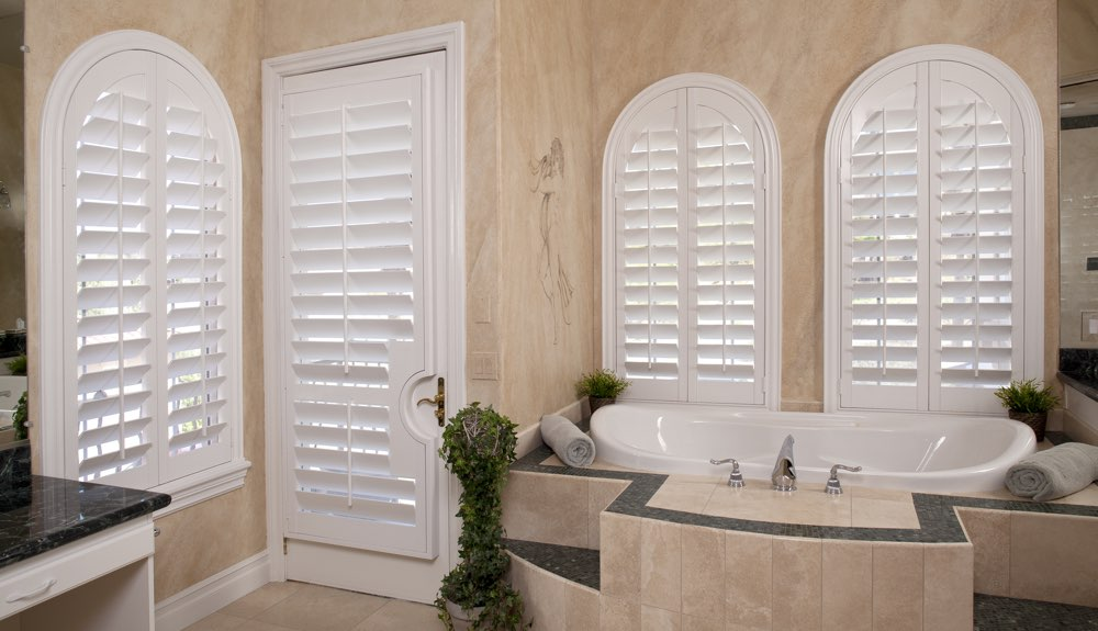 Arched Shutters In A Sacramento Bathroom