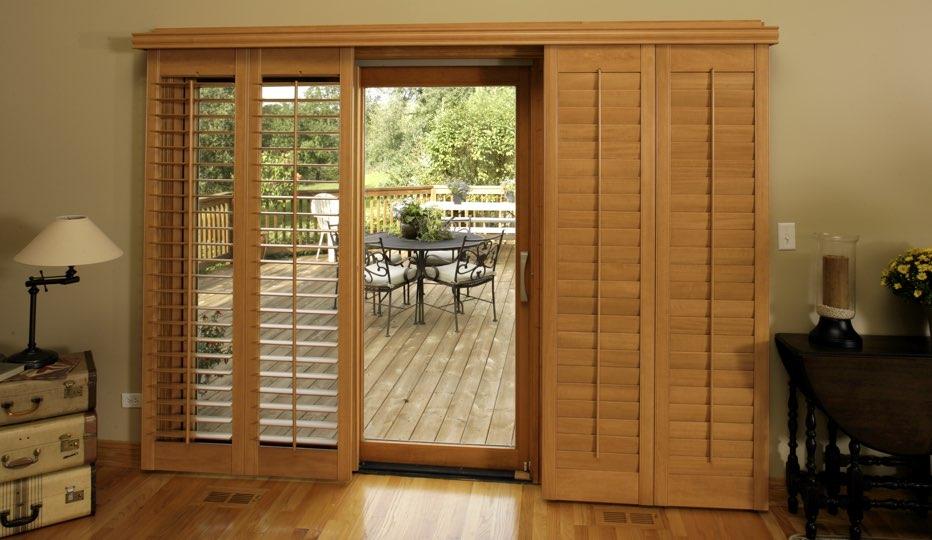 Bypass Wood Patio Door Shutters In A Sacramento Living Room