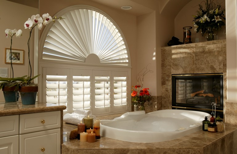Our Professionals Installed Shutters On A Sunburst Arch Window In Sacramento, CA