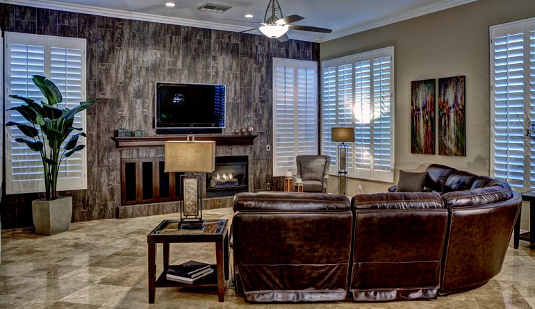 Plantation Shutters In A Sacramento Living Room.